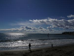 湘南の海で遊ぶ親子